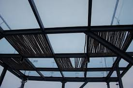 glass ceiling of rooftop terrace