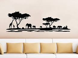 Amazon Com Safari Wall Decal Animals Jungle Safari African Tree Animals Jungle Giraffe Elephant Vinyl Decals Sticker Home Interior Design Art Mural Kids Nursery Baby Room Bedroom Decor Home Kitchen
