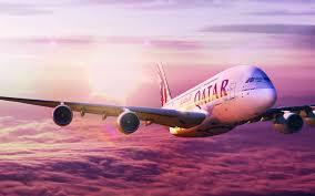 تحميل خلفيات ايرباص A380 طائرة ركاب السماء غروب الشمس السفر