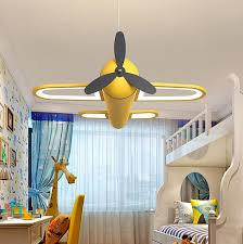Best Deal Bf53 Modern Led Chandeliers Light Airplane Blue Yellow Lights For Children Room Kids Baby Boys Lighting Home Chandelier Lamp Cicig Co