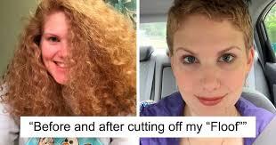 after cutting their long hair