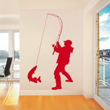 C179 Fisherman Angler Fishing Vinyl Wall Art Sticker Decal Home Decor Sticker Wall Art Sticker Art Vinyl Wall Art
