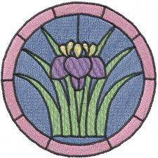 stained glass iris embroidery design