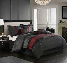 queen king bed gray grey orange white