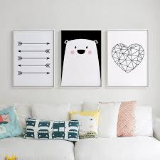 Posters And Prints Nordic Style Poster Bear Heart Wall Art Canvas Pain Elleseal