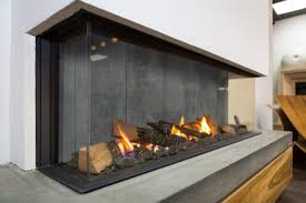 vertical see through gas fireplace