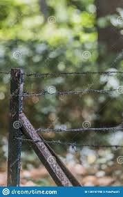 Image Of A Rusty Black Metal Fence With Barbed Wire Stock Photo Image Of Copy Brown 138197790