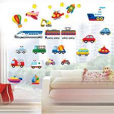 Cartoon Trucks Tractors Cars Wall Stickers Kids Rooms Vehicles Wall Decals Art Poster Photo Wallpaper Home Decor Mural Decal Wallcorners Art Canvas