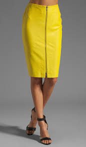 leather pencil skirt in neon yellow