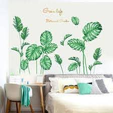 Amazon Com Tropical Plants Green Leaves Wall Stickers Living Room Bedroom Wall Decals Art Murals Home Decoration 1 Plant Arts Crafts Sewing