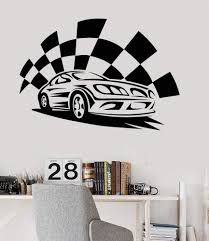 Vinyl Wall Decal Garage Sports Car Race Boys Room Stickers Mural Uniqu Wallstickers4you