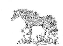Zentangled Horse Abstract Doodle Zentangle Coloring Pages