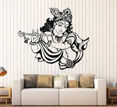 Amazon Com Vinyl Wall Decal Krishna Hinduism God India Hindu Stickers Murals Large Decor Ig3789 Black Home Kitchen