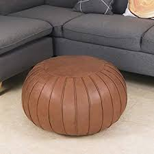 Amazon Com Thgonwid Decorative Pouf Footstool Ottoman Leathaire Poufs Storage Bean Bag Chair Round Floor Cushion Foot Stool For Living Room Bedroom Kids Room And Wedding Unstuffed Brown Kitchen Dining