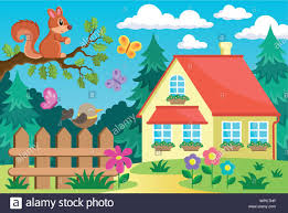 Garden And House Theme Background 2 Stock Vector Image Art Alamy