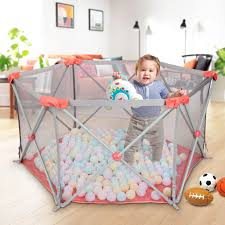 Odoland Safety Portable Playpen Infants Toddler Fence Dailysale