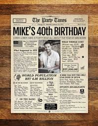 40th birthday gifts for him grafomap