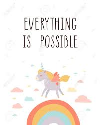 Everything Is Possible Unicorn Kids Room Poster Inspirational Royalty Free Cliparts Vectors And Stock Illustration Image 99346064