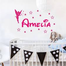 Personalized Girl Name Wall Decal Vinyl Home Decor Kids Room Nursery Wall Sticker Customized Girls Bedroom Name Angel Star 3n04 Wall Stickers Aliexpress