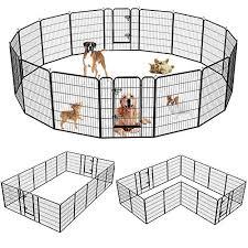 Suncoo Dog Pen 8 16 Panels 24 32 40 In Heavy Duty Folding Large Metal Dog Fence Cat Puppy Pet Exercise Playpen Indoor Dog Training Guide Dog Life Magazine