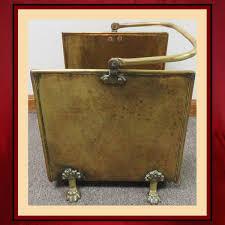 vintage brass claw foot wood holder