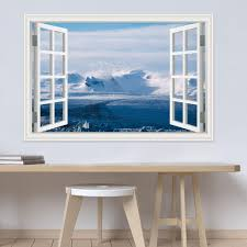 3d Window Decal Landscape Wall Sticker Snow Mountain Lake Nature Wallpaper Window View Vinyl Home Decoration Living Room All Wall Stickers Alphabet Wall Stickers From Asenart 10 26 Dhgate Com