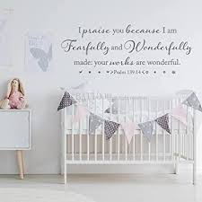 Battoo I Am Fearfully And Wonderfully Made Psalm 139 14 Vinyl Wall Decal Bible Verse Wall Decal Scripture Wall Art Nursery Wall Decal 40 W By 15 H Dark Gray Buy Products