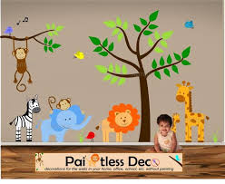 Reuseable Jungle Land Zoo Animals Baby Nursery Wall Decal Sticker Baby Animal Nursery Baby Nursery Wall Decals Jungle Theme Nursery