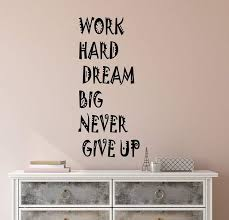 Vinyl Wall Decal Stickers Motivation Quote Words Work Hard Dream Big N Wallstickers4you