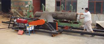 cutting large wood circular sawmill