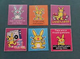 Happy Bunny 6 Sticker Lot Is A Your Real Name Jim Benton Skateboard Ebay