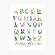 Alphabet Poster Abc Alphabet Learning Kids Room Art Alphabet Wall Art Colour Print Teachers Gifts Bible Verse Scripture Alphabet Printable Zephaniah 3 17 Nursery Print Photographic Print By Dzhenka Balimez Redbubble