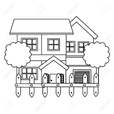 Beautiful House Building With Trees And Fence Vector Illustration Royalty Free Cliparts Vectors And Stock Illustration Image 87680876