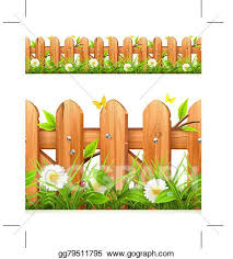 Eps Vector Grass And Wooden Fence Stock Clipart Illustration Gg79511795 Gograph