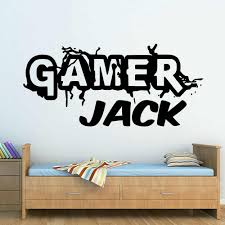 Personalised Gamer Logo Wall Decal Game Gamer Custom Name Wall Sticker Vinyl Boys Girls Name For Bedroom Playroom Decor X039 Wall Stickers Aliexpress