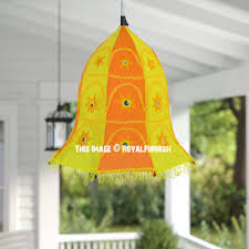 embroidered fabric pendant lamp lantern