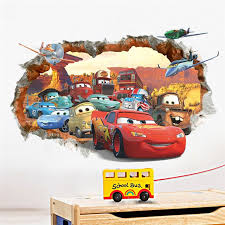 Cartoon Cars Child Room Wall Stickers For Kids Room Boy Bedroom Wall Decals Window Poster 3d Car Wall Sticker W Kids Room Wallpaper Wall Decor Decals Kids Room