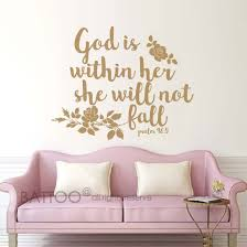 Amazon Com Battoo Psalm 46 5 Bible Wall Decal Quote God Is Within Her She Will Not Fall Teen Girl Vinyl Decal Religious Wall Art Christian Word Vinyl Lettering Gold 20 Wx16 H Arts Crafts