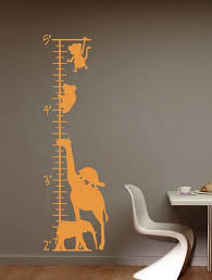 Zoo Animals Wall Growth Chart Ruler Decal Sticker Measure Track Height