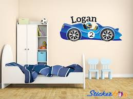 Boys Custom Blue Race Car 2 Name Monogram Decal Nursery Room Vinyl Wall Decal Graphics Boys Baby Bedroom Home Decor