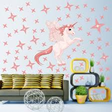 Rainbow Unicorn Star Wall Sticker Girls Bedroom Decal Nursery Home Decor For Sale Online Ebay