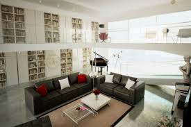 brown black white red lounge interior