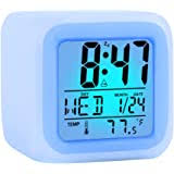 Amazon Com Kids Digital Alarm Clock 7 Color Night Light Snooze Temperature Detect For Toddler Children Boys And Girls Students To Wake Up At Bedroom Bedside Batteries Operated Blue Home Audio Theater