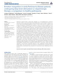 PDF) Emotion recognition in early Parkinson's disease patients undergoing  deep brain stimulation or dopaminergic therapy: a comparison to healthy  participants | Corrie Camalier, Joseph Neimat, Sohee Park, and Bradley  Folley - Academia.edu