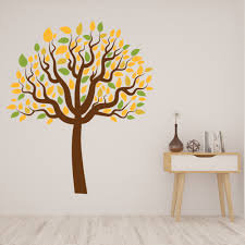 Autumn Tree Yellow Green Leaves Wall Decal Sticker Ws 46267 Ebay
