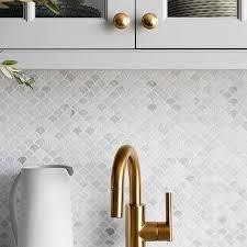 mini marble mosaic tile backsplash