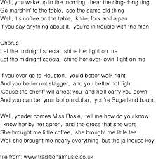 Old-Time Song Lyrics - Midnight Special