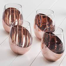 mygift modern copper stemless wine