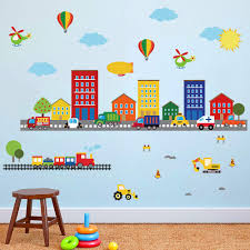 Decalmile Construction Kids Room Wall Decals Transportation Cars Wall Stickers Baby Nursery Childrens Bedroom Playroom Wall Decor