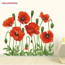 Qt 0061 New Red Poppy Removable Art Waterproof Bedroom Wall Stickers Home Decor Art Flower Vinyl Mural Wall Decals Removable Wall Decals Decal Removerflower Vinyls Aliexpress
